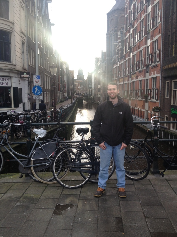 Here I am with the bikes, canals, and beautiful architecture!